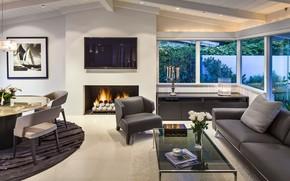 Picture interior, fireplace, living room, dining room, Montecito Beach Villa