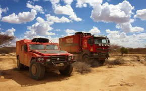 Picture the sky, clouds, vegetation, desert, SUV, truck, Parking, red, Renault, Sherpa, Renault Trucks, Kerax
