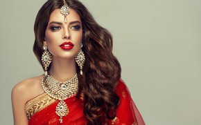 Picture decoration, style, background, portrait, makeup, hairstyle, outfit, brown hair, beauty, Indian