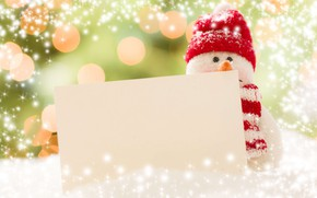 Picture winter, snow, holiday, hat, toy, scarf, Christmas, New year, snowman, snowfall, figure, bokeh, Christmas decorations, …