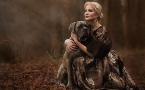 Picture autumn, look, girl, decoration, nature, dog, earrings, dress, blonde, dog, Syrostan Oksana