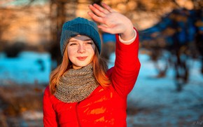 Picture winter, girl, the sun, nature, pose, smile, model, hat, hand, portrait, makeup, scarf, jacket, hairstyle, …