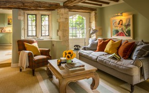 Picture style, retro, interior, living room, Burford, cottage in Cotswolds