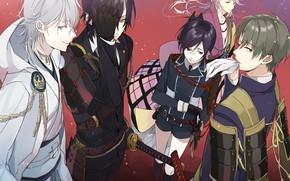 Picture sword, anime, art, guys, characters, Touken ranbu, Dance Of Swords