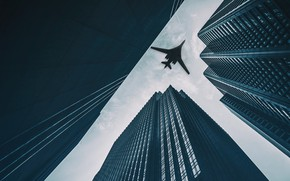 Wallpaper The sky, The city, Swan, The plane, Flight, Skyscrapers, Building, Wings, USSR, Russia, Aviation, BBC, ...