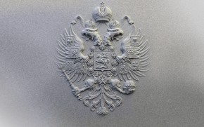 Picture coat of arms, grey background, Russia