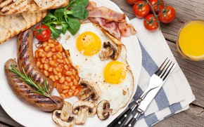 Picture mushrooms, sausage, food, Breakfast, bread, tomatoes, toast, beans, bacon and eggs