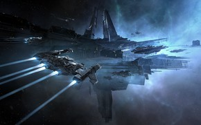 Picture space, nebula, station, space, battle, spaceship, station, eve online, citadel, space ship, coooper