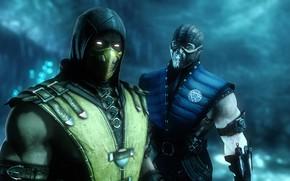 Picture rendering, Mortal Kombat, Scorpion, ninja, Sub Zero, killer
