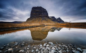 Picture mountain, reflection, Immerse, Ssouthern Iceland