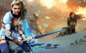 Picture girl, sword, warrior