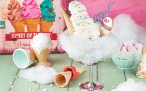 Picture ice cream, dessert, cotton candy