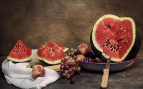 Picture wall, Board, watermelon, plate, grapes, knife, fabric, pieces, still life, peaches, slices