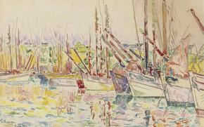Picture figure, watercolor, 1923, Paul Signac, Paul Signac, Boats. Groix