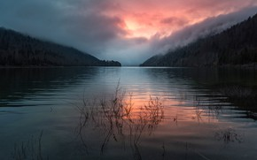 Picture forest, the sky, clouds, sunset, mountains, fog, lake, reflection, river, dawn, hills, stems, the evening, …