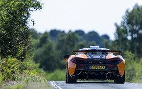 Picture road, coupe, McLaren, rear view, 2020, V8 twin-turbo, 620R, 620 HP, 3.8 L.