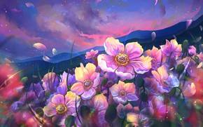 Picture flowers, mountains, petals