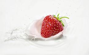 Picture squirt, splash, milk, strawberry, berry