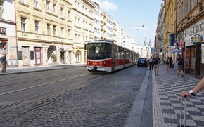 Picture The city, Street, Tram, The way, Pedestrians