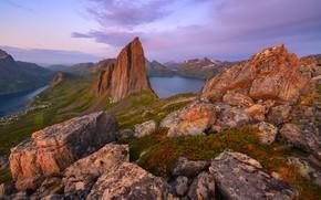 Picture sea, landscape, mountains, nature, stones, rocks, island, morning, Norway, Senja, Maxim Evdokimov