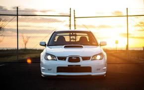 Picture Subaru, Impreza, WRX, STI, Sunset, White, Evening, Face, Sight
