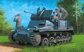 Picture Germany, APU, Antiaircraft self-propelled installation, 2 cm Flak 38 on the Panzer I, Flalkpanzer I