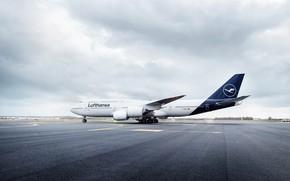 Picture The plane, Liner, Board, Clouds, Boeing, 747, Lufthansa, Overcast, Boeing 747, Boeing 747-8, Deutsche Lufthansa …
