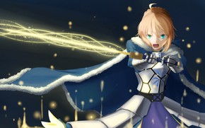 Picture girl, sword, mantle, the saber, Fate / Stay Night