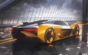 Picture rendering, Lamborghini, supercar, rear view, The Third Millennium