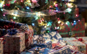 Picture winter, branches, holiday, toys, lights, Christmas, gifts, New year, tree, garland, needles, box, bokeh, Christmas …