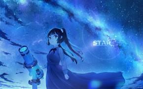 Picture the sky, night, girl, telescope
