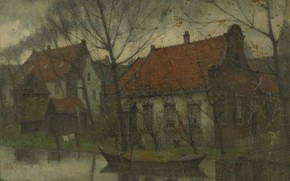 Picture landscape, oil, Village, canvas, 1900, Johann Eduard Carsen, Eduard Karsen