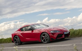 Picture road, red, markup, coupe, Toyota, Supra, side, the fifth generation, mk5, double, 2019, UK version, …