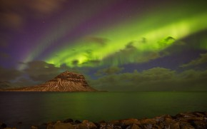 Picture sea, mountain, Northern lights, Iceland