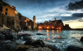 Picture sea, landscape, stones, tower, home, the evening, lighting, Italy, the dome, Vernazza, Vernazza, Cinque Terre, …