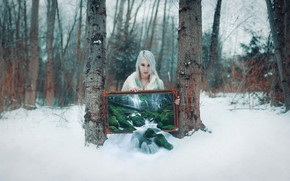 Picture forest, girl, style, waterfall, picture, fantasy, blonde, image, photoart, Kindra Nikole