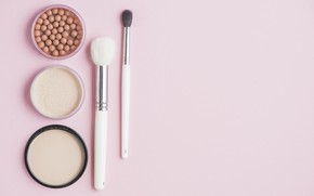 Picture brush, pink background, cosmetics, powder