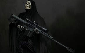 Wallpaper weapons, skull, fantasy, art, skeleton, hood, sight, sniper rifle