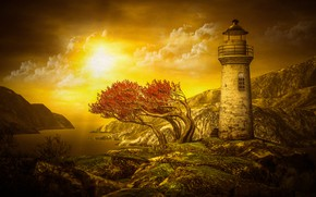 Picture mountains, warm colors, tree, sea, rocks, branches, autumn, nature, lighthouse, the sky, stones, rendering, shore, …
