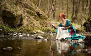 Picture stream, river, sitting, cosplay, Triss Merigold, Triss Merigold, The Witcher 3 Wild Hunt, Rozari Cosplay