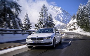 Picture white, trees, movement, BMW, sedan, hybrid, 5, four-door, 2017, 5-series, G30, 530e iPerformance