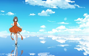 Picture the sky, clouds, reflection, girl