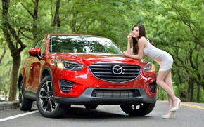 Picture look, Girls, Mazda, Asian, beautiful girl, red car, posing leaning on the car