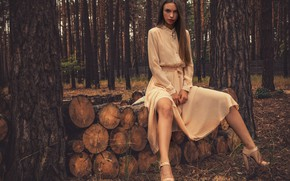Picture Alina, forest, trees, nature, fence, woods, peach, outside, sexy woman, countryside, posing, heels, beautiful face, …