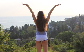 Picture sea, ass, mountains, nature, tenderness, shorts, watch, beauty, Beauty, ideal, goddess, beautiful