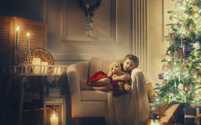 Picture toy, tree, bear, sleeping, girl, New year, garland