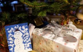Picture winter, holiday, box, figure, Christmas, New year, snowman, Christmas decorations, Christmas decorations, новогодние декорации