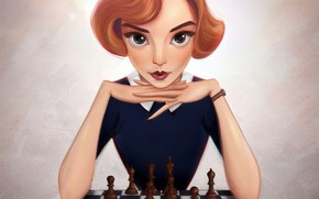 Picture look, girl, pose, table, background, the film, figure, portrait, makeup, chess, art, hairstyle, red, Board, …