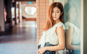 Picture brown hair, sweetheart, reflection, Asian