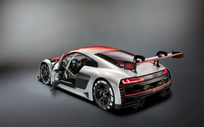 Picture racing car, Audi R8, rear view, LMS, 2019